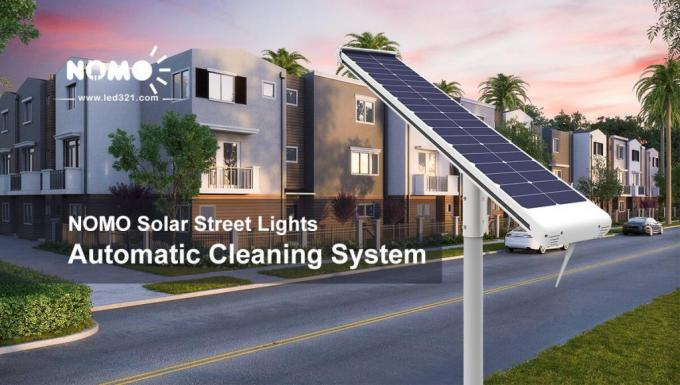 Good quality All in one smart LED solar street light with robotic cleaning system