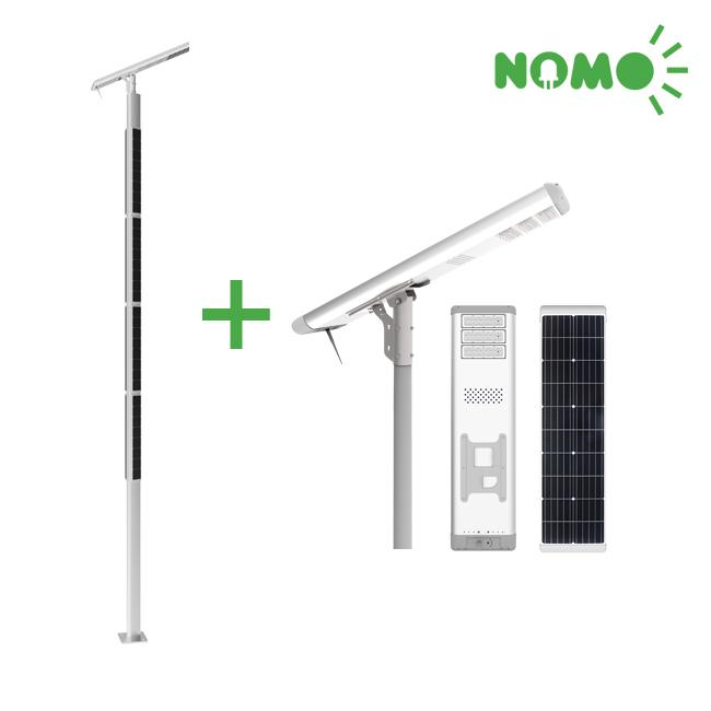 Remote Monitoring Column Solar Powered Road Lights , Motion Sensor Street Lights 8 Meters