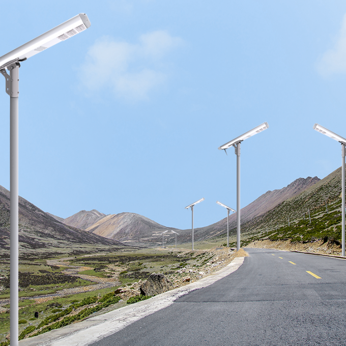 Outdoor Integrated Smart Solar Street Light Management System Lithium Battery 120W